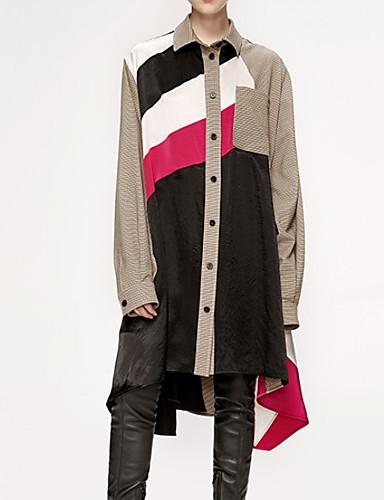 billige Kjoler-Dame Skjorte Kjole - Fargeblokk Knelang