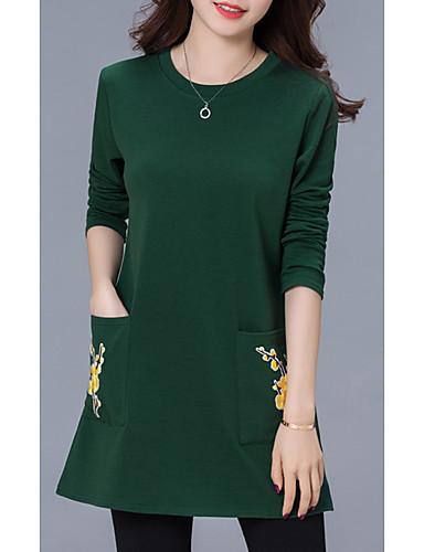 voordelige Grote maten jurken-Dames Recht Jurk - Bloemen Mini