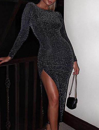 رخيصةأون فساتين الحفلات-فستان نسائي ثوب ضيق غير متماثل لون سادة