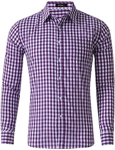 voordelige Herenoverhemden-Heren Standaard Overhemd Blokken Zwart