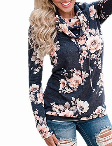 billige Dametopper-T-skjorte Dame - Blomstret Svart