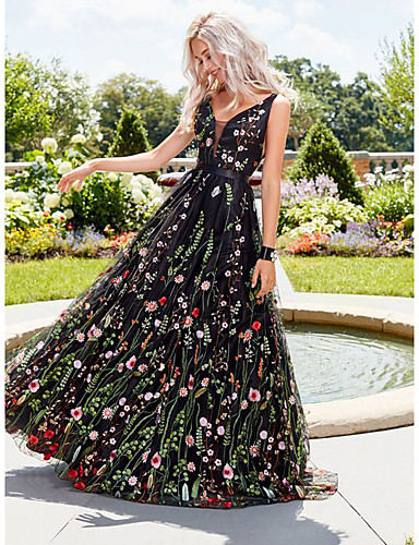 voordelige Maxi-jurken-Dames Street chic Wijd uitlopend Jurk - Bloemen, Blote rug Geborduurd Maxi