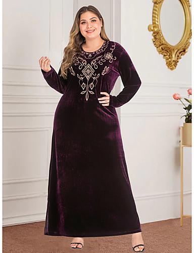 voordelige Maxi-jurken-Dames Vintage Standaard Recht Abaya Jurk - Geometrisch, Split Geborduurd Maxi
