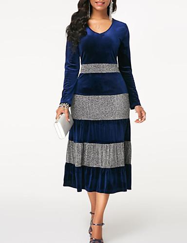 voordelige Grote maten jurken-Dames Standaard Schede Jurk - Kleurenblok Midi