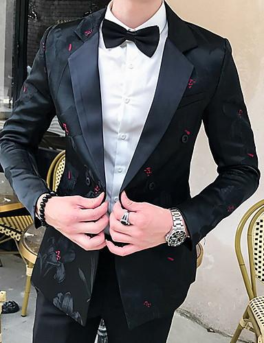 voordelige Herenblazers & kostuums-Heren Blazer, Geometrisch Overhemdkraag Polyester Zwart / Wit / Geel