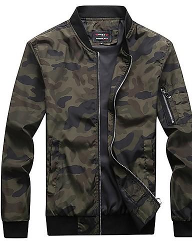 voordelige Herenjacks & jassen-Heren Dagelijks Normaal Jack, camouflage Opstaand Lange mouw Polyester Leger Groen / Grijs