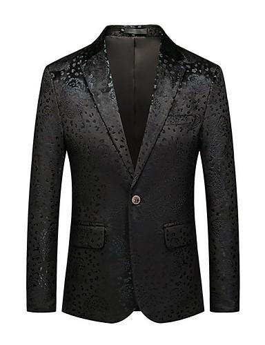 voordelige Herenblazers & kostuums-Heren Blazer Ingesneden revers Polyester Zwart