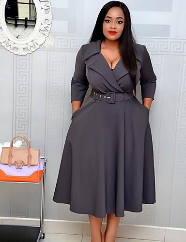 voordelige Grote maten jurken-Dames Standaard A-lijn Jurk - Effen Midi