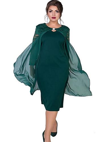 voordelige Grote maten jurken-Dames Schede Jurk - Effen Midi