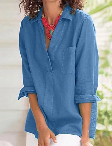 billige Dametopper-Skjorte Dame - Ensfarget, Lapper Gatemote Blå Blå