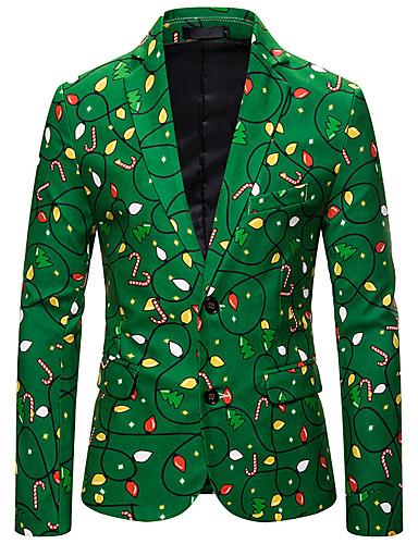voordelige Herenmode-Heren Blazer, Kleurenblok Overhemdkraag Polyester Klaver