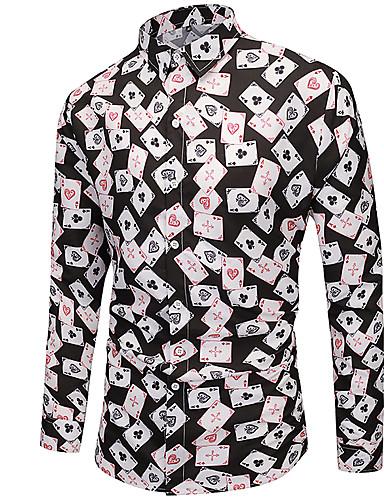 voordelige Herenoverhemden-Heren Standaard Print EU / VS maat - Overhemd 3D / Blokken / Grafisch Zwart / Lange mouw