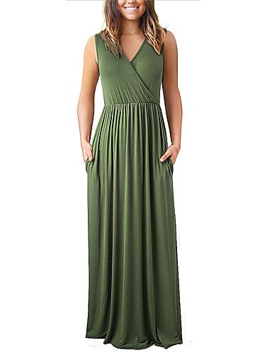 voordelige Maxi-jurken-Dames Verfijnd Elegant A-lijn Schede Jurk - Effen, Met ruches Geplooid Patchwork Maxi