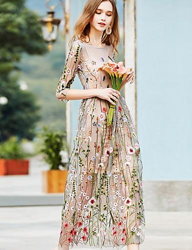 voordelige Maxi-jurken-Dames Elegant A-lijn Jurk - Bloemen Maxi