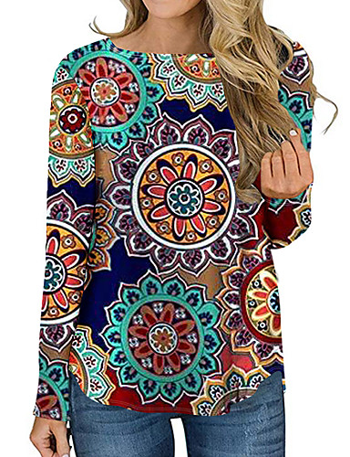 billige Dametopper-T-skjorte Dame - 3D / Tribal Grunnleggende Solblomst Rosa