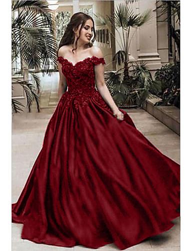 voordelige Maxi-jurken-Dames Elegant Wijd uitlopend Jurk - Effen, Print Maxi