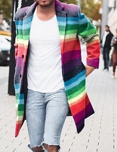 voordelige Herenjacks & jassen-Heren Dagelijks Winter Normaal Jas, Kleurenblok Opstaand Lange mouw Polyester Regenboog