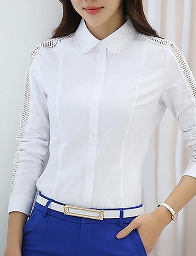 billige Dametopper-Skjorte Dame - Ensfarget Grunnleggende Lyseblå