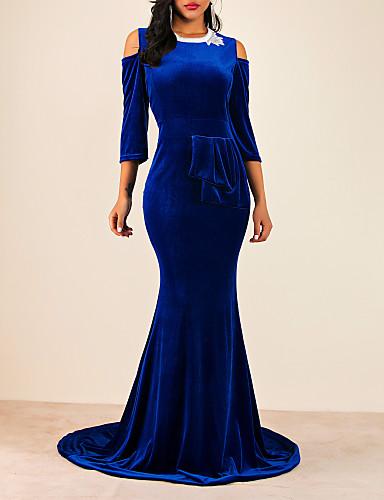 voordelige Maxi-jurken-Dames Elegant Trompet / zeemeermin Jurk - Effen Maxi