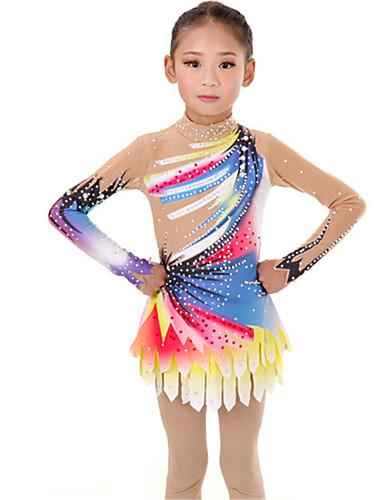 Triko za ritmičku gimnastiku Trikoi za ritmičku gimnastiku Žene Djevojčice Triko za vježbanje Plava Visoka elastičnost Ručno izrađen Izgled dijamanta Sjenčanje Dugih rukava Natjecanje Balet Plesne