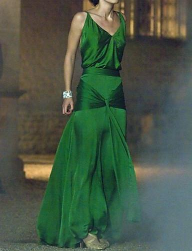 رخيصةأون قبل التنزيلات-A-الخط حمالات سباكيتي طول الأرض ساتان فستان مع طيات بواسطة LAN TING Express