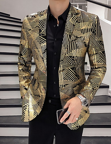 voordelige Herenblazers & kostuums-Heren Blazer Puntige revers Polyester Goud