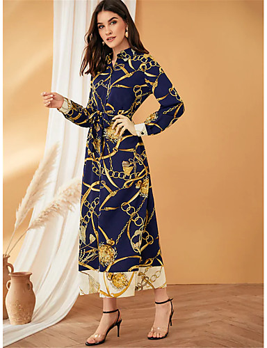 voordelige Maxi-jurken-Dames Wijd uitlopend Jurk - Geometrisch Maxi