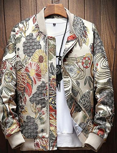 voordelige Herenjacks & jassen-Heren Dagelijks Standaard Normaal Jack, Geometrisch Opstaand Lange mouw Polyester Wit