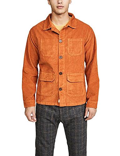 voordelige Herenmode-Heren Dagelijks Standaard Winter Normaal Jack, Effen Strijkijzer Lange mouw Polyester Oranje