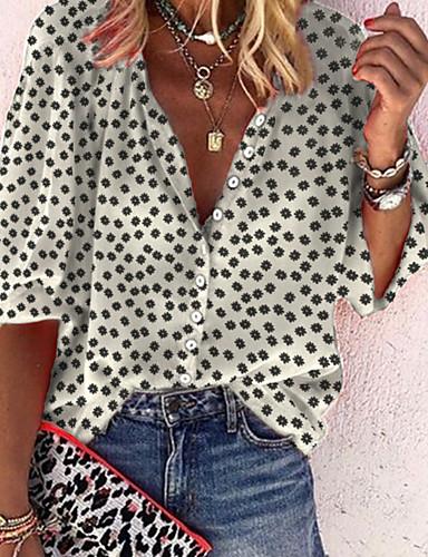 billige Dametopper-Skjorte Dame - Polkadotter / Geometrisk, Trykt mønster Gatemote / Punk & Gotisk Svart