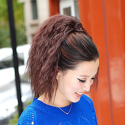 Mikro Halkalı Saç Postişleri At Kuyrukları Sentetik Saç Saç Parçası Ek saç Dalgalı