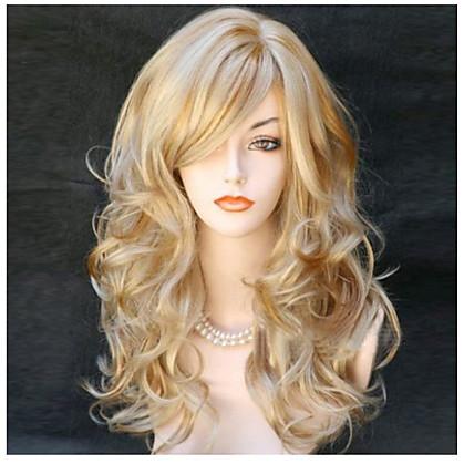 Synthetische pruiken Gekruld / Golvend Blond Met pony Synthetisch haar Zijdeel Blond Pruik Dames Lang Zonder kap Blond