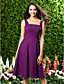 cheap Bridesmaid Dresses-A-Line Straps Knee Length Chiffon Bridesmaid Dress with Draping by LAN TING BRIDE®
