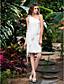 hesapli Gelinlikler-Sütun Tek Omuz Kısa / Mini Şifon Çiçekli ile Kıyafetli Gelinlikler tarafından LAN TING BRIDE® / Küçük Beyaz Elbiseler