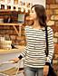 ieftine Bluze Damă-ShiBeiNi femei simplu guler rotund Stripes Slim T Shirt (kaki, alb)