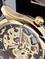 baratos Relógios Mecânicos-WINNER Masculino Relógio de Pulso relógio mecânico Automático - da corda automáticamente Gravação Oca Couro Banda Preta Dourado