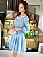 Γυναικεία Φόρεμα Κουμπί/Επίπεδα/Πλισέ Στρογγυλή Λαιμόκοψη Πάνω από το Γόνατο Μακρυμάνικο Spandex