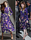 Χαμηλού Κόστους Βραδινά Φορέματα-Γραμμή Α Με Κόσμημα Κάτω από το γόνατο Σιφόν Επίσημο Βραδινό Φόρεμα με Σχέδιο / Στάμπα με TS Couture®