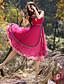 billige Kjoler-Dame Vintage I-byen-tøj Shift / Skede Kjole Blomstret,Med stropper Maxi Uden ærmer Rød Polyester Sommer Alm. taljede Uelastisk Medium