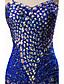 preiswerte Abendkleider-Trompete / Meerjungfrau Spaghetti-Träger Boden-Länge Satin Tüll Formeller Abend Kleid mit Perlenstickerei durch Shang Shang Xi