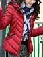 コート レギュラー パッド入り 女性,カジュアル/普段着 ソリッド ポリエステル ポリプロピレン-シンプル 長袖 フード付き ピンク / ブラック / グリーン