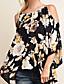 billige Topper til damer-Polyester Medium Halvlange ermer,Med stropper Skjorte Blomstret Trykt mønster Vår Sommer Sexy Vintage Gatemote Ut på byen Fritid/hverdag