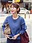 preiswerte Damen Pullover-Damen Standard Pullover-Lässig/Alltäglich Einfach Solide Rundhalsausschnitt Langarm Baumwolle Winter Mittel Mikro-elastisch
