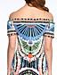 זול שמלות נשים-פוליאסטר עד הברך סירה רחב דפוס שמלה נדן פשוטה / סגנון רחוב נשים