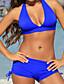 baratos Biquínis e Roupas de Banho Femininas-Mulheres Sólido Azul Branco Preto Shorts de Natação Biquíni Roupa de Banho - Sólido Estilo Clássico / Sexy M L XL