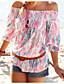 baratos Blusas Femininas-Mulheres Blusa Estampado, Multi-Côr Poliéster Decote Canoa