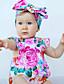 preiswerte Babyoverall-Baby Mädchen Einzelteil Blumen Modisch Baumwolle Sommer Ärmellos Blumig Rosa