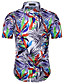 남성 프린트 셔츠 카라 짧은 소매 셔츠,심플 시누아즈리 캐쥬얼/데일리 작동 면 여름 불투명