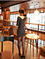 Dámské Běžné/Denní Bodycon Šaty Jednobarevné,Dlouhý rukáv Kulatý Mini Bavlna Léto Podzim Mid Rise Lehce elastické Střední