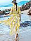 Naiset Suora Swing Mekko Boheemi Bile Rento/arki,Painettu V kaula-aukko Midi Epäsymmetrinen Lyhythihainen Polyesteri Sifonki Kesä Syksy